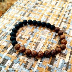 Other - Unisex Meditation Wood and Black Onyx Bracelet